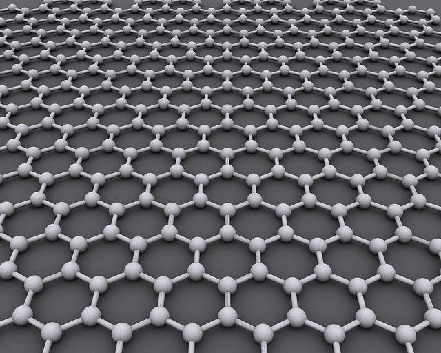 Bal peteği örgü yapısına sahip karbon atomlarından oluşan grafen malzemesi.