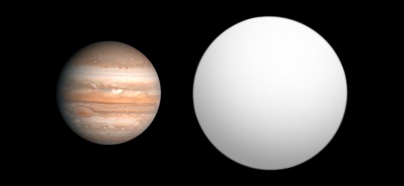Jüpiter ile Kepler-7b'nin büyüklük kıyaslaması. Wikipedia