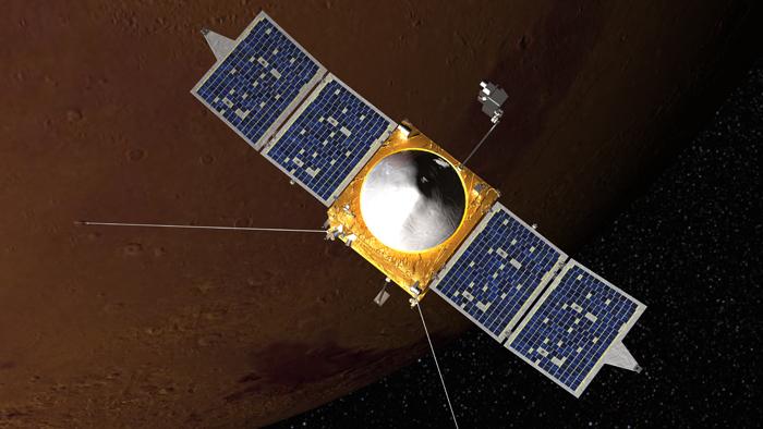 NASA'nın MAVEN misyonu Mars'ta bir zamanlar var olan ince atmosferin nasıl kaybolduğunu araştıracak. Credit: NASA