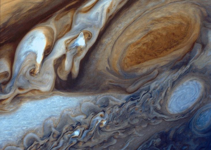 Jüpiter'in büyük kırmızı lekesi, 5 Mart 1979 yılında Voyager 1 uzay aracı tarafından bu şekilde görüntülendi. Credit: NASA/JPL