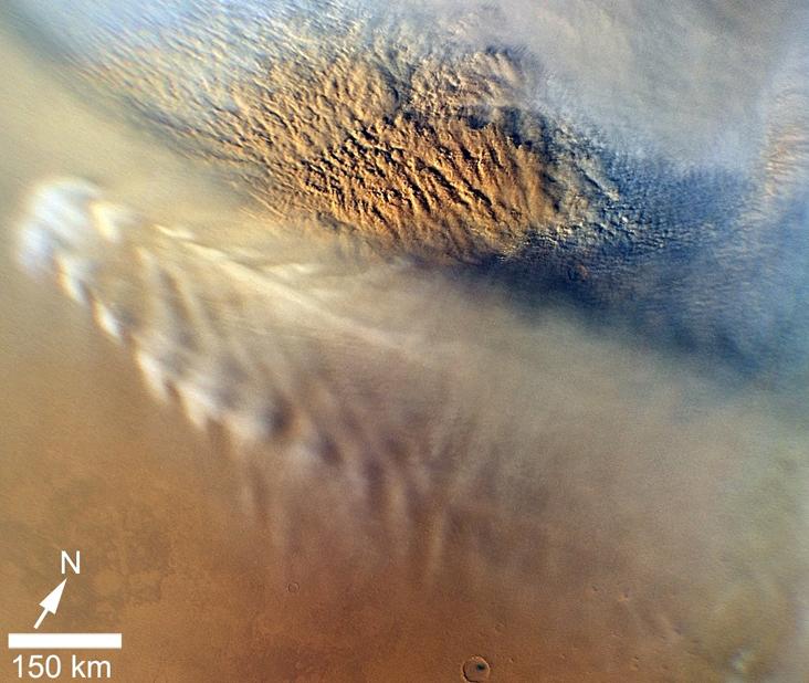 7 Kasım 2007'de NASA'nın Mars Reconnaissance yörünge aracı tarafından elde edilen bir toz bulutu görüntüsü. Credit: NASA/JPL-Caltech/MSSS
