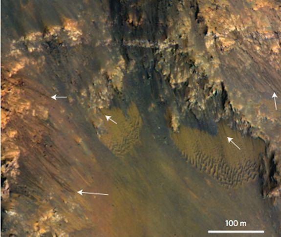 Karanlık Damar Benzeri Arazi Oluşumları. Image: Nature Geoscience / Alfred McEwen et al.