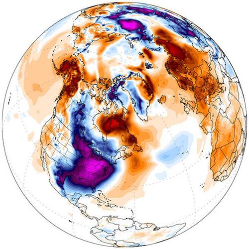 7 Ocak 2014'te Dünya genelindeki sıcaklık farkları. Kırmızı daha sıcağı gösterir, mavi daha soğuğu. Credit: Climate Change Institute, University of Maine, Orono