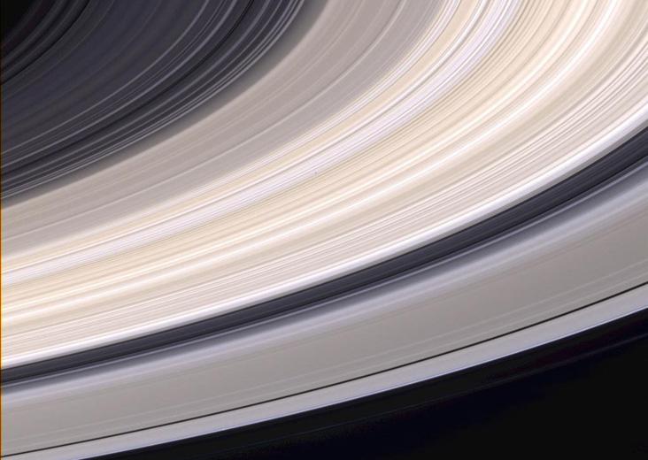 21 Haziran 2004 tarihinde Cassini uzay aracı tarafından görüntülenen Satürn halkaları, gerçek renkleriyle görülmekte.  Credit: NASA/JPL/Space Science Institute
