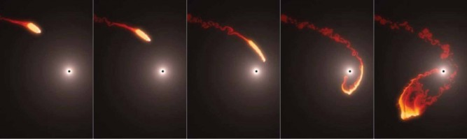 G2 olarak adlandırılan bir gaz bulutu galaksimiz Samanyolu'nun merkezindeki süperkütleli bir karadelik olan Sagittarius A* ile çarpışmak üzere. Bir simülasyon gaz bulutunun nasıl esnediğini ve paramparça olabileceğini gösteriyor.