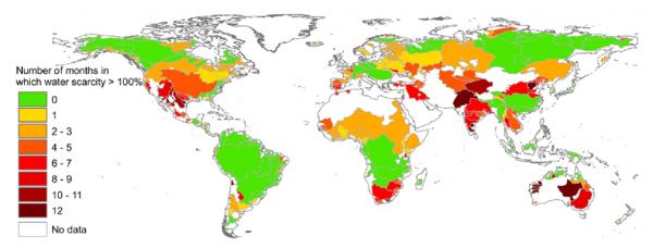 Su kıtlığı haritası. Hoekstra et. al, 2012.