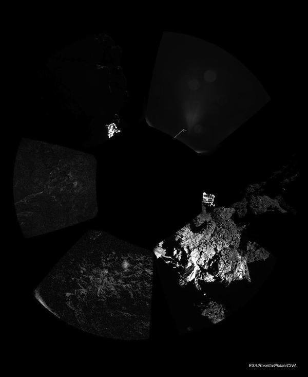 Philae sondasının gönderdiği şaşırtıcı panoramik görüntü.