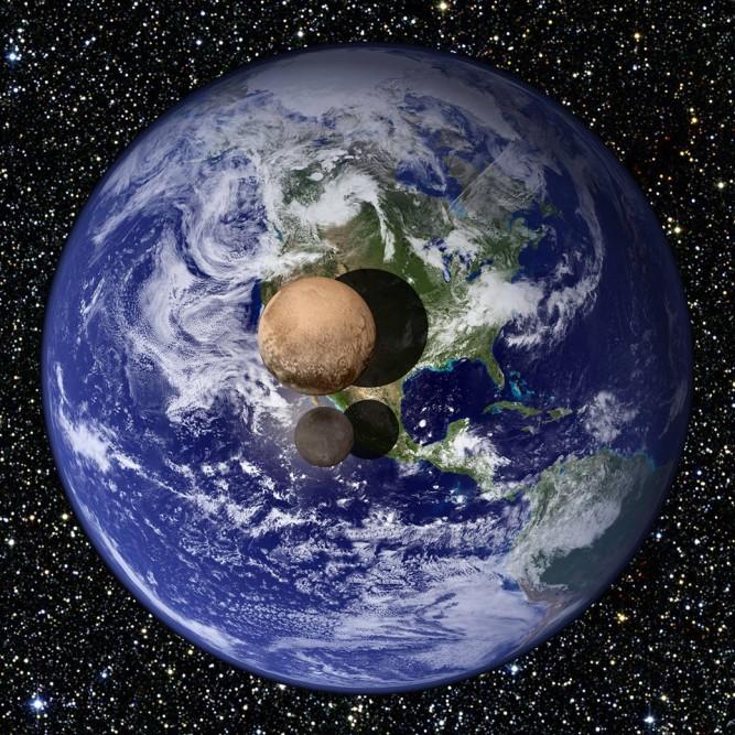 Plüton'un çapı Dünya'nın %18.5 ve Charon ise Dünya'nın % 9.5'una karşılık geliyor.