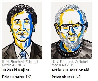 2015 yılı Nobel Fizik Ödülü'nü kazanan Takaaki Kajita ve Arthur B. McDonald yaklaşık 1 milyon dolarlık ödülü eşit olarak paylaştılar.