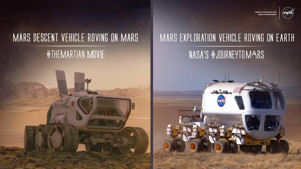 Soldaki fotoğraf Marslı filminde görülen Mars arazi aracı, sağdaki fotoğrafta ise geliştirilen Mars keşif aracı görülüyor.