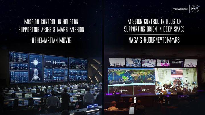 Solda Marslı filminde Houston'daki misyon kontrol odası ve sağdaki NASA'nın Orion uzay aracı için gerçekte olan kontrol odası