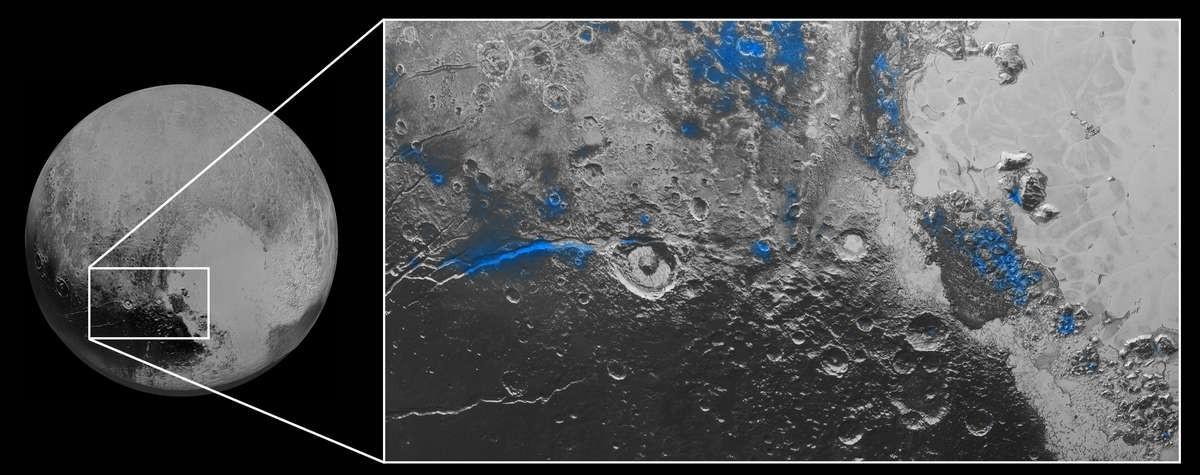 Plüton'un yüzeyindeki buz haritası. NASA/JHUAPL/SwRI