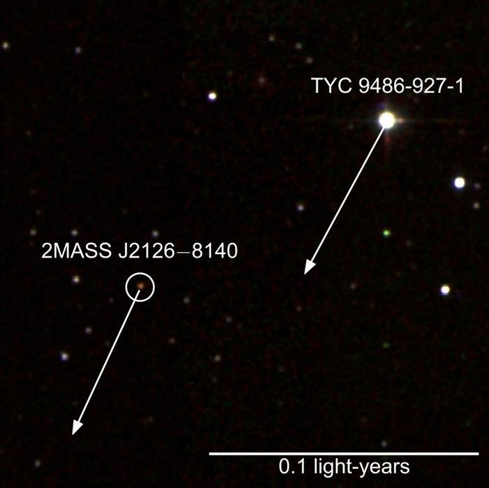 İşte bilinen en geniş gezegen sisteminin iki üyesi: MASS J2126 gezegeni ve TYC 9486-927-1 yıldızı.
