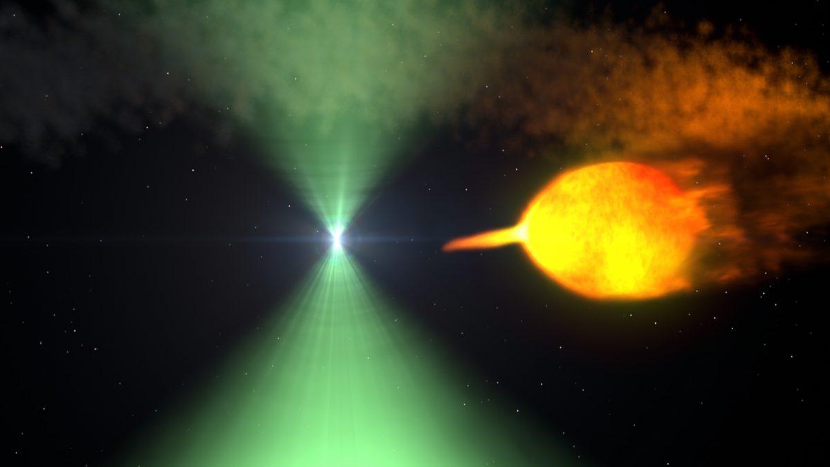 Şekil 1: İkili yıldız sisteminde bir atarca. NASA Goddard Space Flight Center