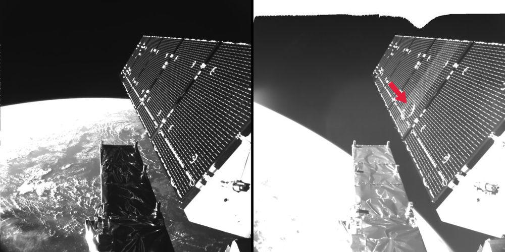 Uzay çöpünün Sentinel-1A uydusu üzerinde bıraktığı etki. Uydu üzerindeki güneş panelinin öncesi ve sonrası. Görüntü: ESA