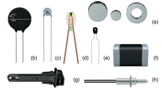 Şekil 1. NTC termistörlere örnekler: (a) kurşunsuz (b-c) kurşun boşluklu (d) cam kapsüllü (e) reçine kapsüllü (f) yüzeye monte sensör (g-h) prob sensör [2].